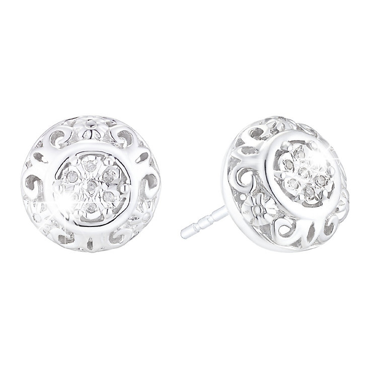 Silver & 0.03ct Diamond Stud Earrings - Product number 4933281