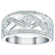 Silver & 0.03ct Diamond Twist Enternity Ring - Product number 4933702
