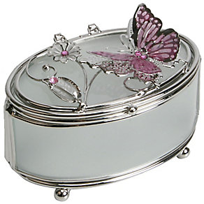 Pink Butterfly & Flowers Trinket Box - Product number 4933990