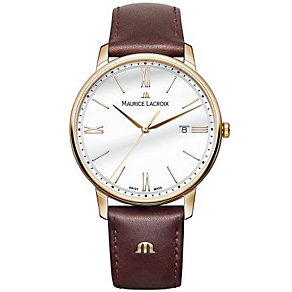 Maurice Lacriox Men's Rose Gold Plated Brown Strap Watch - Product number 4936361