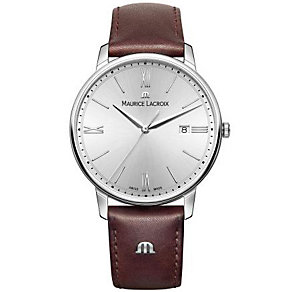 Maurice Lacriox Men's Stainless Steel Brown Strap Watch - Product number 4936442