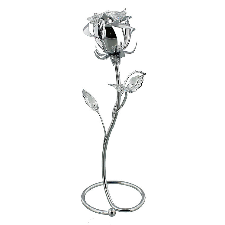 Chrome Plated Rose Ornament with Swarovski Elements - Product number 4936507