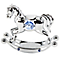 Chrome Plated Rocking Horse Ornament with Swarovski Elements - Product number 4936868