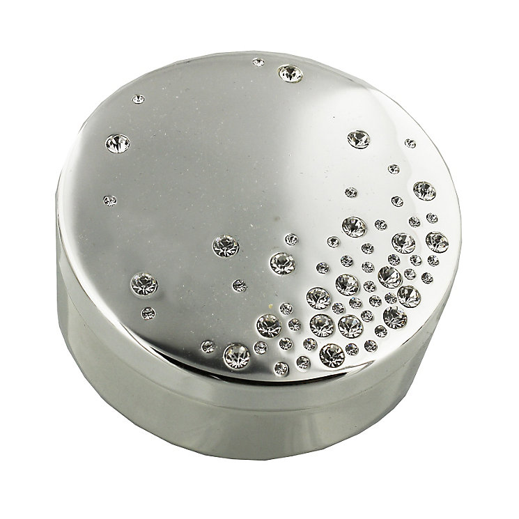 Silver Plated Round Trinket Box with Crystals - Product number 4936884