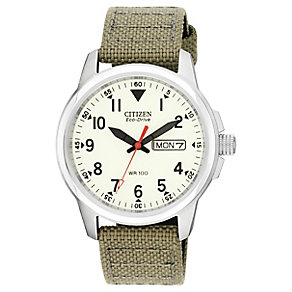 Citizen Eco-Drive Men's Military Style Tan Canvas Watch - Product number 4937899