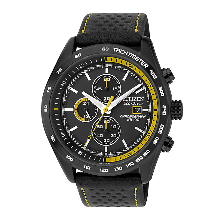 Citizen Eco-Drive Men's Chronograph With Black Leather Strap - Product number 4937910