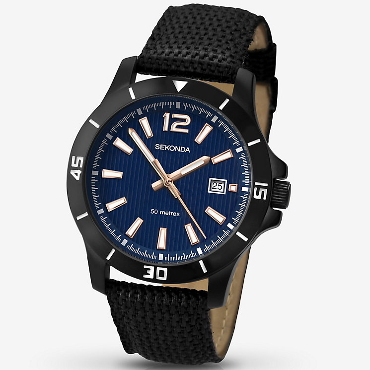 Sekonda Men's Blue Dial Ion-Plated Black Strap Watch - Product number 4937945