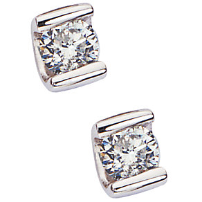 9ct white gold quarter carat diamond solitaire earrings - Product number 4944461