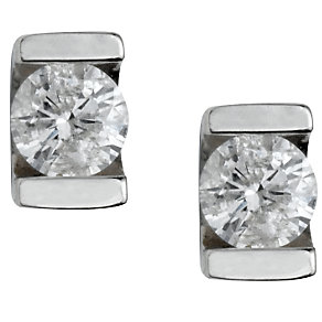 9ct white gold third carat diamond solitaire earrings - Product number 4944496