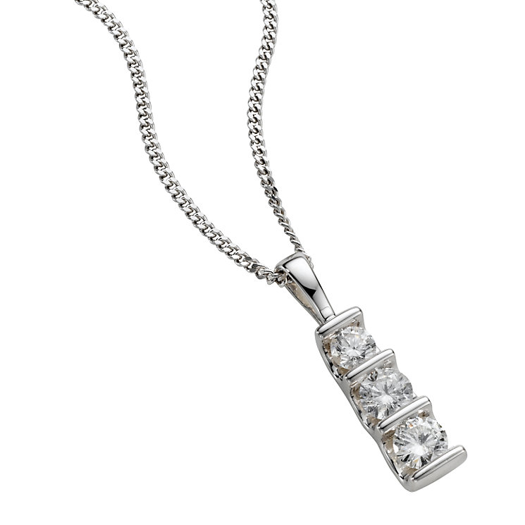 9ct white gold 0.50ct diamond bar pendant necklace - Product number 4944526