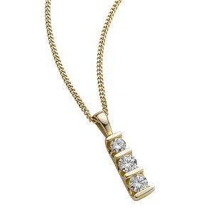 9ct gold half carat diamond bar pendant necklace - Product number 4944569