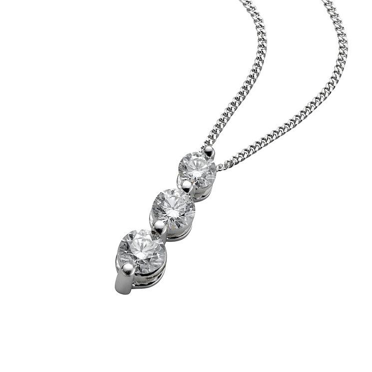 18ct white gold half carat three diamond  pendant necklace - Product number 4945042