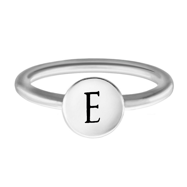 Chamilia Sterling Silver E Alphabet Disc Ring Size J - Product number 4947088