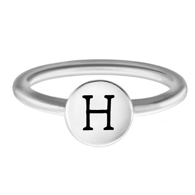 Chamilia Sterling Silver H Alphabet Disc Ring Size J - Product number 4947428
