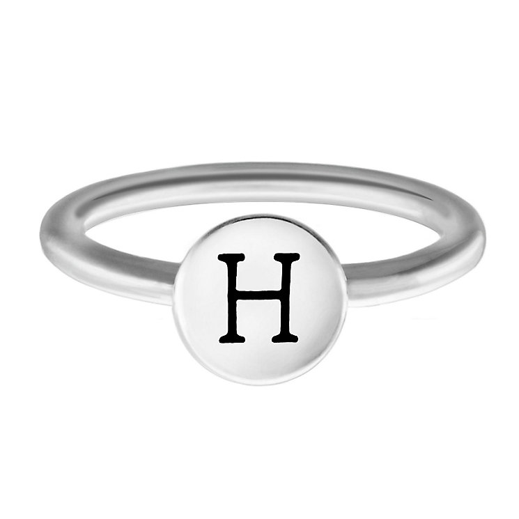 Chamilia Sterling Silver H Alphabet Disc Ring Size R - Product number 4947517