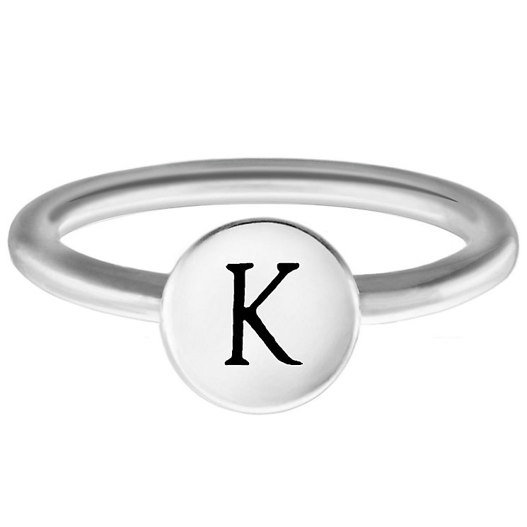 Chamilia Sterling Silver K Alphabet Disc Ring Size J - Product number 4947630