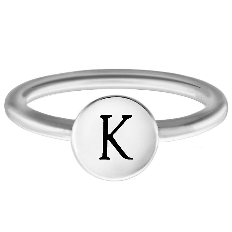 Chamilia Sterling Silver K Alphabet Disc Ring Size P - Product number 4947800
