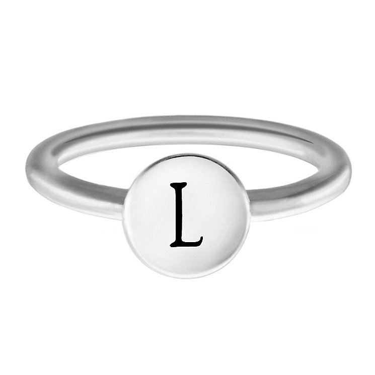Chamilia Sterling Silver L Alphabet Disc Ring Size P - Product number 4947851