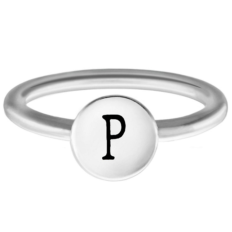 Chamilia Sterling Silver P Alphabet Disc Ring Size J - Product number 4948165