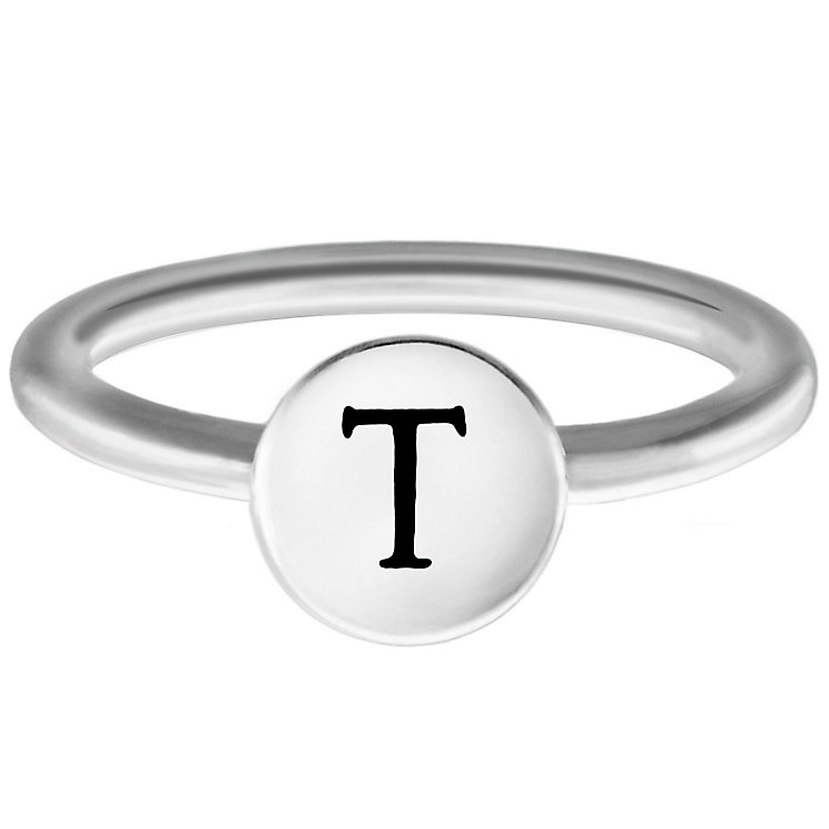 Chamilia Sterling Silver T Alphabet Disc Ring Size N - Product number 4949242