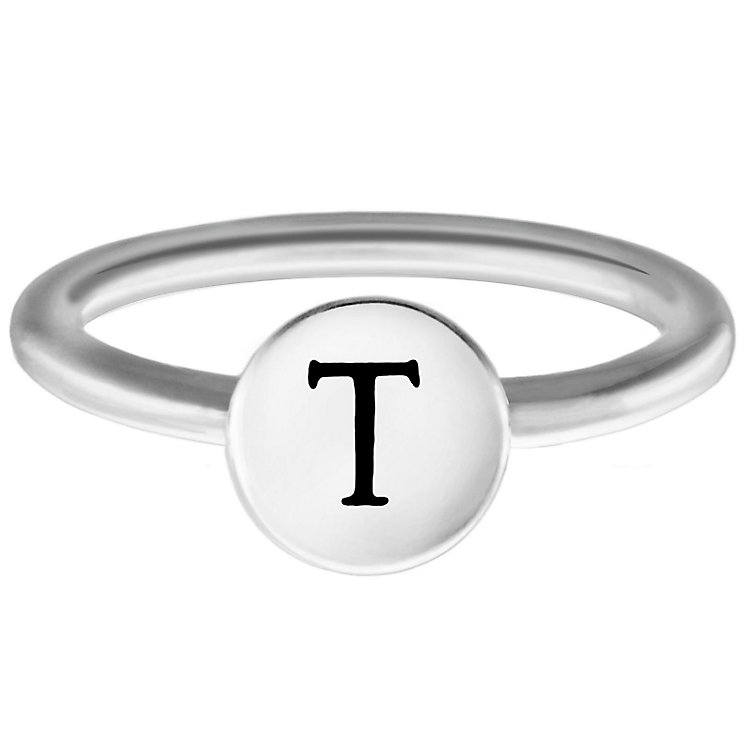 Chamilia Sterling Silver T Alphabet Disc Ring Size P - Product number 4949250