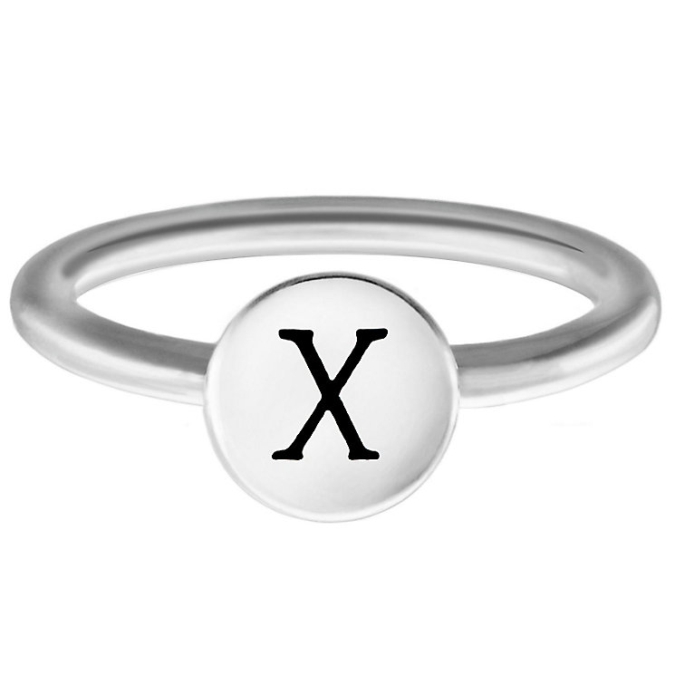 Chamilia Sterling Silver X Alphabet Disc Ring Size R - Product number 4949617