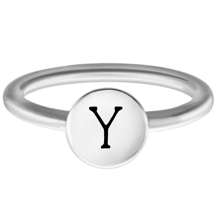Chamilia Sterling Silver Y Alphabet Disc Ring Size R - Product number 4949676