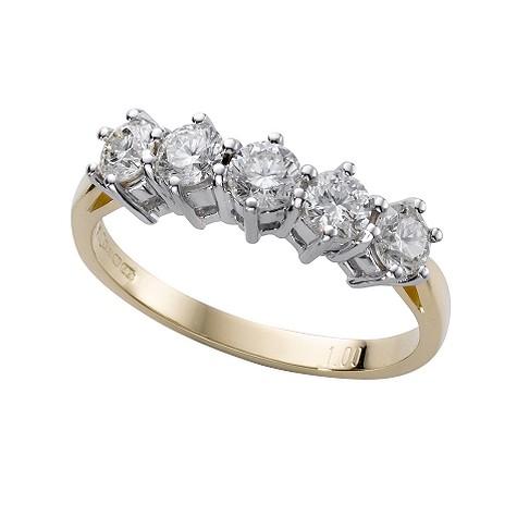 18ct gold one carat diamond half-eternity ring
