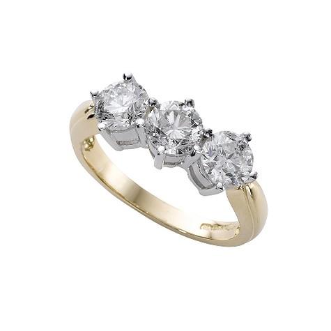 18ct gold two carat diamond three stone ring