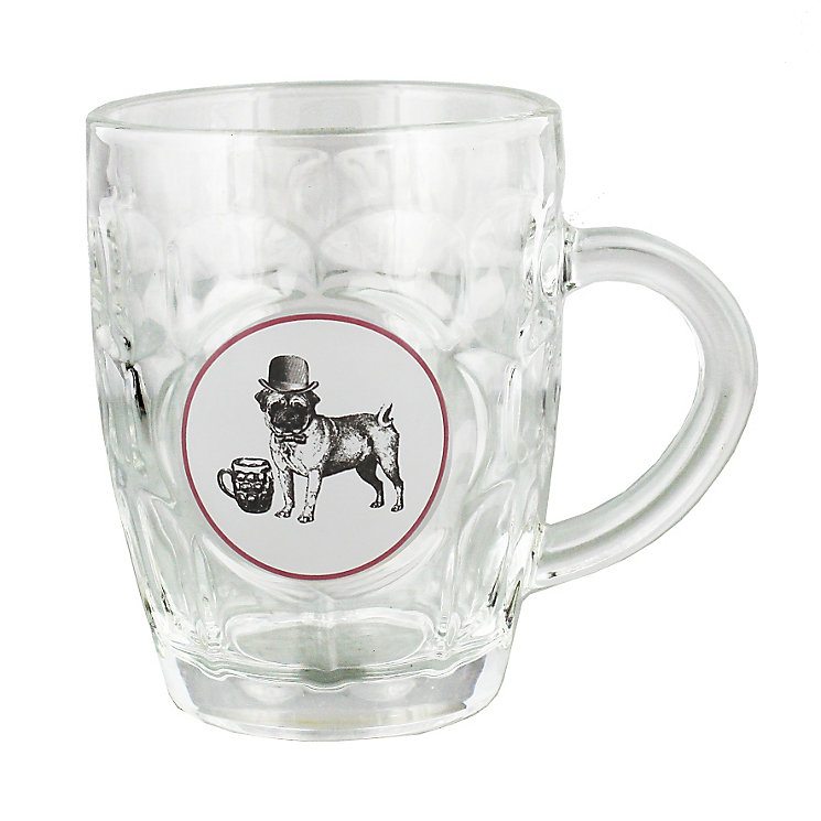 Novelty Glass Pint Tankard with Pug Dog Design - Product number 4952456