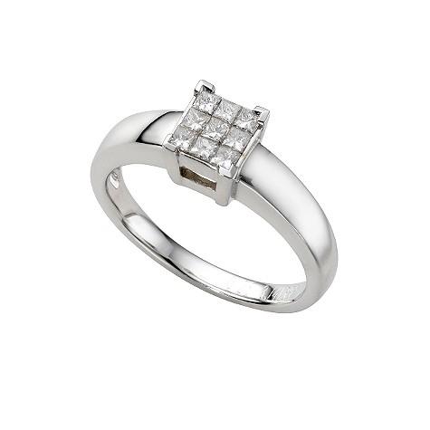 18ct white gold third carat princess cut diamond ring