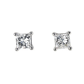 18ct white gold half carat diamond stud earrings - Product number 4953371