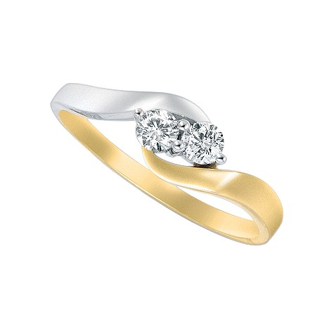 18ct two-colour gold quarter carat diamond two stone ring