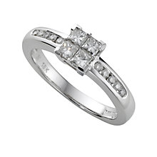 18ct white gold half carat princess cut diamond ring - Product number 4954491