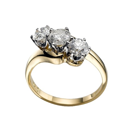 18ct gold one and a half carat diamond three stone ring