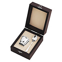 Carrs Sterling Silver Egg Cup & Spoon In Mahogany Case - Product number 4955226
