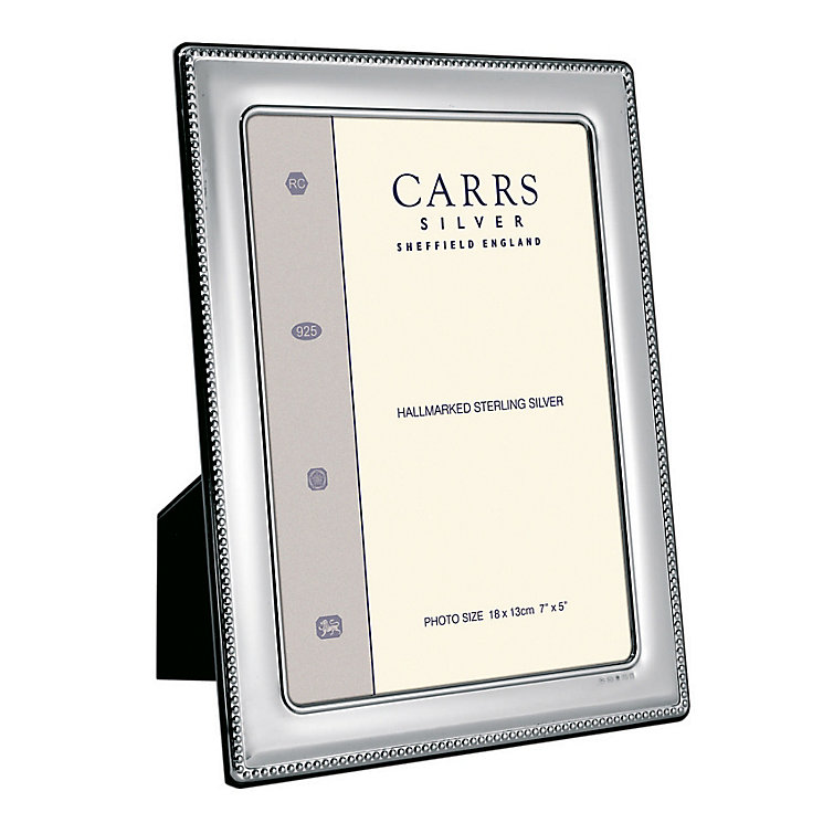 "Carrs Sterling Silver 8""x6"" Beaded Trim Photo Frame - Product number 4955293"