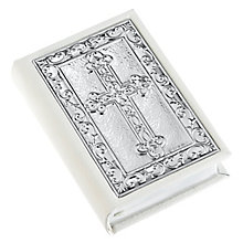 Carrs Sterling Silver Front Child's White Leather Bible - Product number 4955315