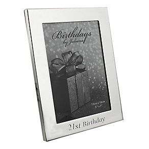 """21st Birthday Silver Plated Photo frame 5"""" x 7"""" - Product number 4955382"""