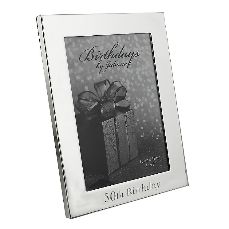"50th Birthday Silver Plated Photo frame 5"" x 7"" - Product number 4955390"