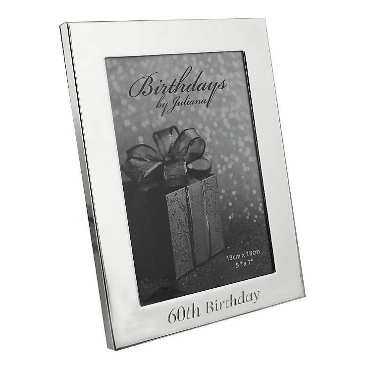 "60th Birthday Silver Plated Photo frame 5"" x 7"" - Product number 4955404"