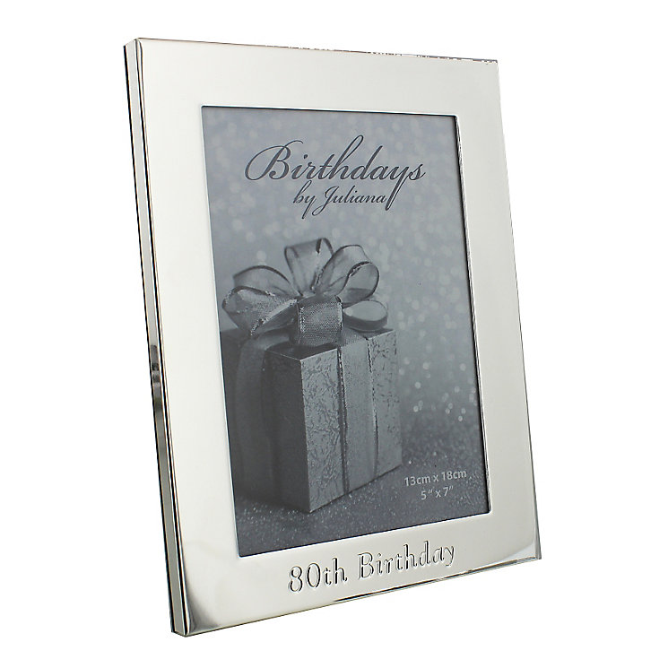 """80th Birthday Silver Plated Photo frame 5"""" x 7"""" - Product number 4955420"""