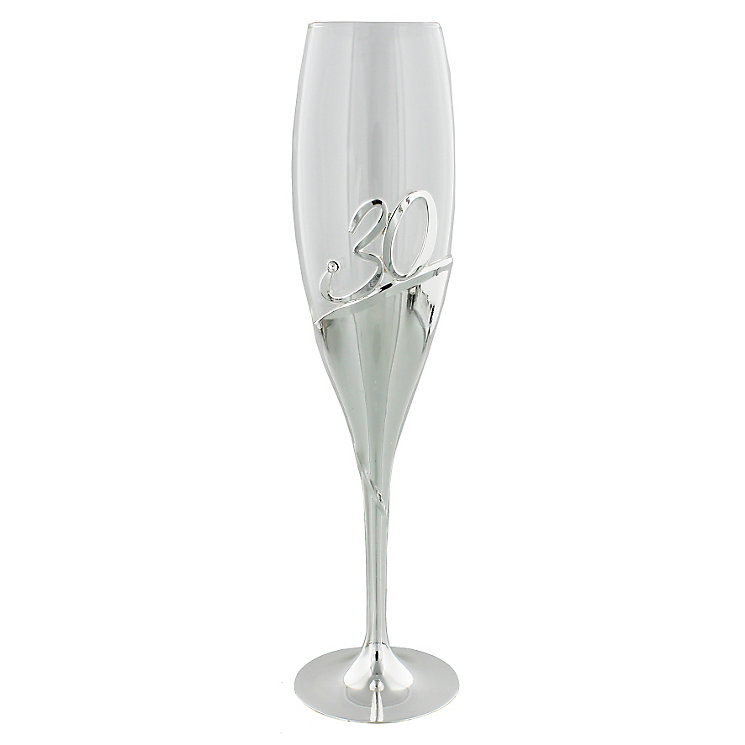 30th Birthday Champagne Flute with Silver Plating - Product number 4955447