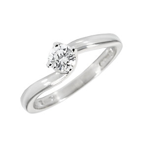 18ct white gold third carat diamond solitaire twist ring - Product number 4956680