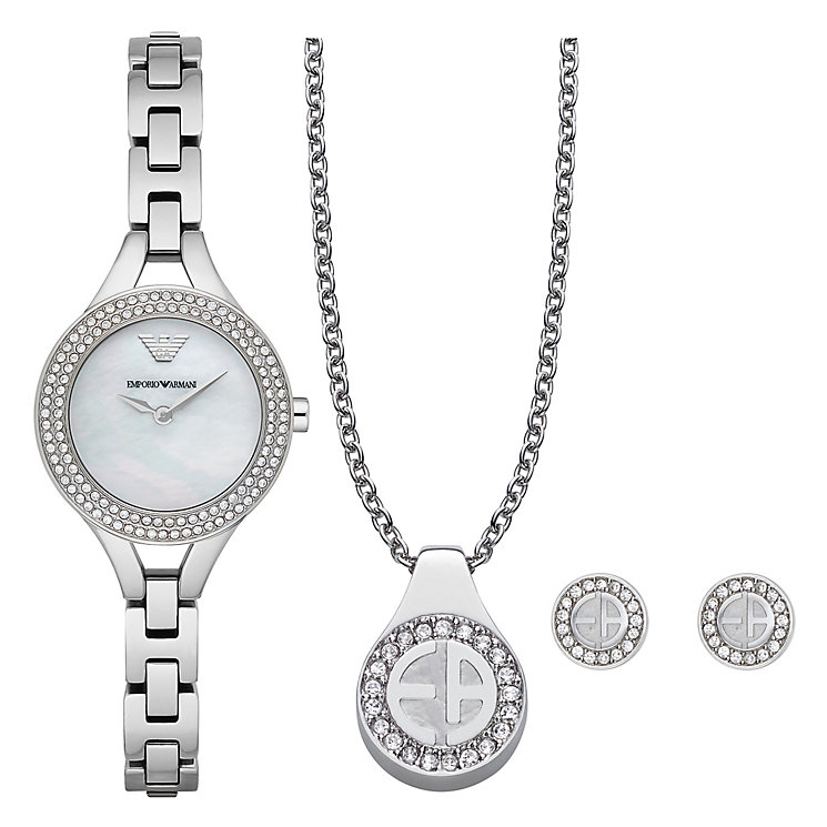 Emporio Armani Stainless Steel Bracelet Watch Jewellery Set - Product number 4957555