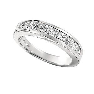 Platinum one carat princess cut diamond half-eternity ring - Product ...