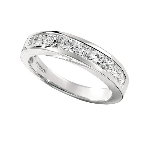 Platinum one carat princess cut diamond ring