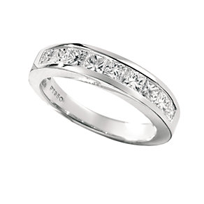 Platinum one carat princess cut diamond half-eternity ring - Product number 4957660