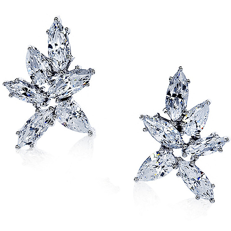Carat 9ct White Gold Stone Set Cluster Studs - Product number 4958985