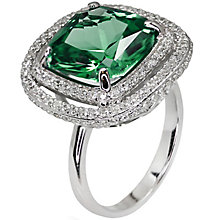 Carat Silver Green Stone Set Ring Size P - Product number 4959043